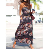 Holiday Floral Print Tube Top Sleeveless Maxi Dress