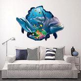 Miico Criativo 3D Peixe Mar Golfinho Removível Sala de Home Decorativa Decoração Da Parede Adesivo