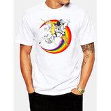 メンズ100%コットン宇宙飛行士の惑星プリントラウンドネックカジュアル半袖Tシャツ