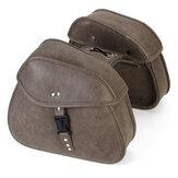 Par Retro Viagem Motocicleta PU Alforjes de couro Bolsa Carry Side Bags Universal