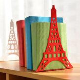 Bookend Fashion Eiffel Tower Diseño Bookshelf Large Metal Bookend Desk Holder Soporte para libros Organizador Gift Stationery