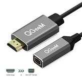 QGEEM QG-HD02 HDMI naar Mini DisplayPort-converteradapterkabel 4K x 2K HDMI naar Mini DP-videokabel voor digitale tv / lcd-scherm Laptop / projector / tv-box