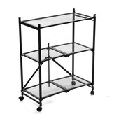 3-Tier Multifunctional Storage Cart Foldable Mesh Wire Rolling Kitchen Storage Shelf File Rack Bookshelf with Wheels Home Office Furniture