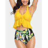 Halter String Ruffles Bikini de cintura alta con estampado de limón para Mujer
