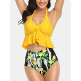 Halter String Ruffles Top Lemon Print High Waist Bikini For Women