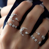 5-delige Fashion Ring Sets Bohemian Finger Ring Simple Moon Star