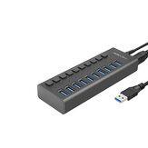 USB 3.0-hub supersnelle splitter, 10-poorts USB-gegevenshub met voedingsadapter, individuele aan / uit-schakelaars en verlichting voor laptop, pc, computer, mobiele harde schijf, Flash Dr (10 poorten zwart