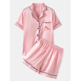 Plus Size Women Solid Color Revere Collar Smooth Home Casual Faux Silk Pajama Set