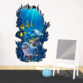 3D zeebodem Oceaan Muurstickers Home Decor Muurschilderingen Verwijderbare Ocean World Decor Sticker