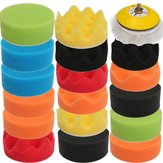 18Pcs Car Polisher Flat Sponge Buffing Polishing Pad Kit Set