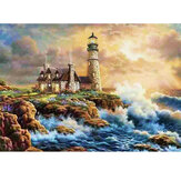 DIY Diamond Painting Scenic Lighthouse Round Diamond Embroidery Home Wall Living Decorations Gifts for Kids Adult