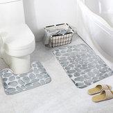 Honana 2Pcs 3D Stone Memory Foam Bath Mats Set Anti-slip Floor Mat Absorbent Bathroom Toilet Rugs