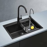 680x450mm Nano Stainless Steel Kitchen Black Sink Above Counter Stainless Steel Seamless Welding Collapsible