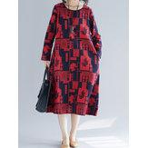 Ethnic Floral Print O-neck Long Sleeve Dress