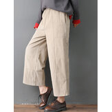 Women Pure Color Elastic Waist Pockets Corduroy Pants