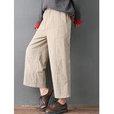 Mujer Puro color elástico bolsillos de la cintura de pana Pantalones