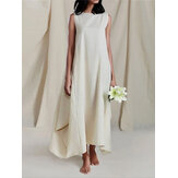 Cotton Solid Color Irregular Hem Sleeveless Loose Maxi Dress with Side Pockets