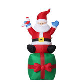 1.8M Christmas Inflatable Toys Santa on Present Xmas Decoration Outdoor Garden Lights