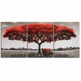 3 piezas pinturas decorativas de pared árbol rojo lienzo impreso imágenes artísticas sin marco decoraciones para colgar en la pared para la oficina en casa