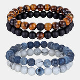 Original              2Pcs/Set Natural Stone Matching Couples Beaded Bracelets Agate Volcanic Stone Men Women Jewelry Gift