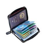 RFIDأنتيماجنيتيكجلدطبيعي40فتحات بطاقة حامل البطاقة جواز التخزين حقيبة