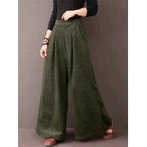 Mujer Sólido Simple Casual Pierna ancha Uso diario Cintura elástica Pantalones con bolsillos