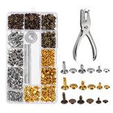 Conjuntos de remaches de doble tapa para manualidades en cuero Kit de fijación de tachuelas metálicas tubulares herramientas