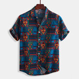 Mens Vintage Fashion Ethnic Pattern Printing Summer Shirts