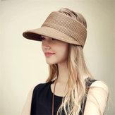 Kadın Outdoor Nefes Katlanabilir Straw Şapka