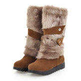Large Size Slip On Buckle Fur Snow Flat Mid-calf Boots
