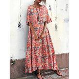 Bohemian Kadın Gevşek Çiçek Baskı O-Boyun Kısa Kollu Yan Cepler Elbise