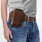 Men Genuine Leather Retro 6.3 Inch Phone Bag Holder Waist Belt Bag