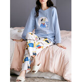 Women Cartoon Animal & Letter Print Pullover Elastic Waist  Loose Pants Home Pajama Set