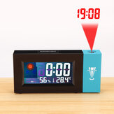 LED Digital Projection Alarm Clock Weather Thermometer Snooze Backlight Calendar