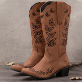 Plus Size Women Retro Butterfly Embroidered Mid Calf Cowboy Boots