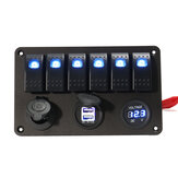 6 Gang LED Rocker Switch Panel Volt Meterr Dual Usb Power Charger Marine Boat RV