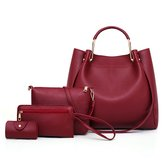 Women Plain Faux Leather Four-piece Set Handbag