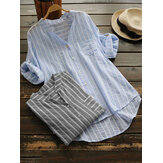 Stripe V-neck Buttons 3/4 Sleeve Irregular Blouse