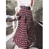Polka Dot Print High Waist Side Zipper Elegant Loose Maxi Skirts