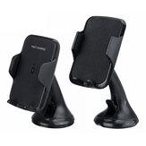 Rotação universal de 360 graus de 10 W de carregamento rápido sem fio para painel de controle do pára-brisa suporte do telefone do carro para Samsung telefone inteligente entre 4-6,3 polegadas