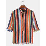 Colorful Chemises Henley Respirantes En Coton Imprimé Rayé Pour Hommes