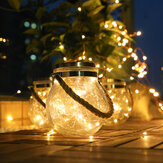 LED Solar Power Crackle Ball-shaped Mason Jar Copper Wire Hanging Lights for Outdoor Patio Tree Decor