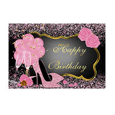 Sweet Pink Happy Birthday Photography Backdrop Rose Shiny Sequins High Heels Party Backdrop