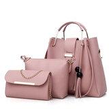 Mulheresdecourofalsodetrês peças Set Tassel Handbag