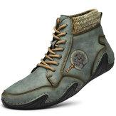 Мужская ручная работа Soft Нескользящая удобная кожаная лодыжка на шнуровке Ботинки