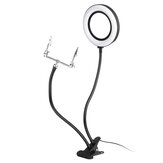 6 Inches 360° 10X Magnifier LED Light Lamp Desk Magnifying Glass with Clamp USB Charging