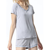 Women Modal Short Sleeve V-Neck Casual Sleepwear Summer Pajamas