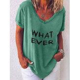 Camisetas casuales de manga corta con cuello en V y estampado de letras para mujer