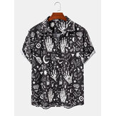 Mens Casual Abstract Cartoon Kurzarmhemden