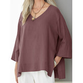 Women Solid Color V-Neck Three Quarter Sleeve Blouse